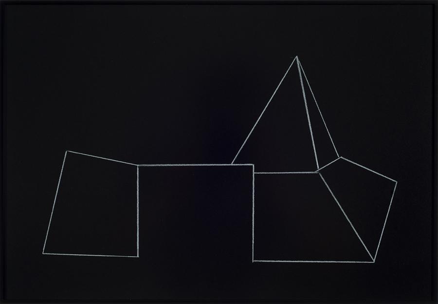Jakob Flohe, o.T. (Durchgang), 2013, Farbstift auf schwarzem Karton