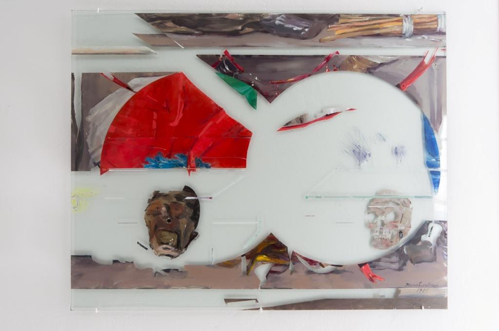 Dierk Schmidt: Ohne Titel (Human Remains in Berlin), 2014/15, Öl/Glas, je 80 x 100 cm. Installationsansicht Kunsthaus Dresden, Foto: David Brandt