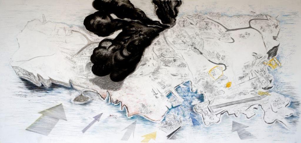 Thomas Kilpper: Ein Leuchtturm für Lampedusa, 2009. Zeichnung, 330 x 150cm
