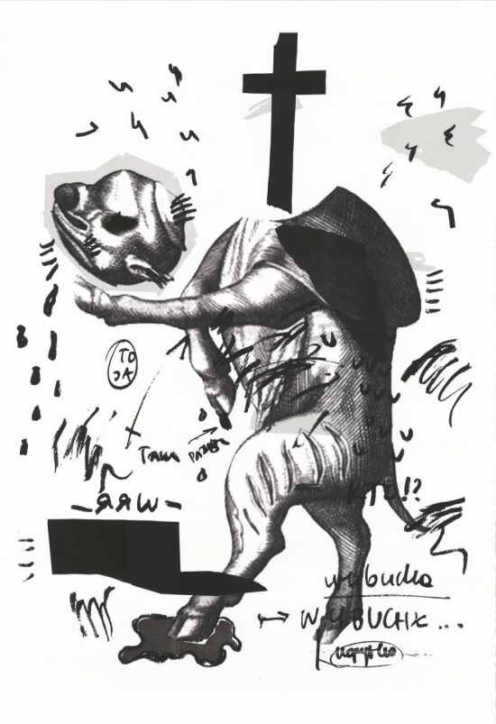 Marta Kubiak: Ich schnitt mir den Kopf ab, Serigrafie, 112x76 cm, 2016