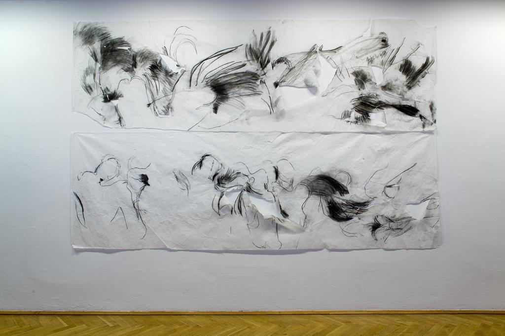 Monika Weiss: Drawing With Body, Drawing With Sound,  Kohle auf Transparentpapier, 2002 Sound in Zusammenarbeit mit Stephen Vitiello Courtesy Monika Weiss & Diapason Gallery, New York City.  Ausstellungsansicht Kunsthaus Dresden: David Brandt