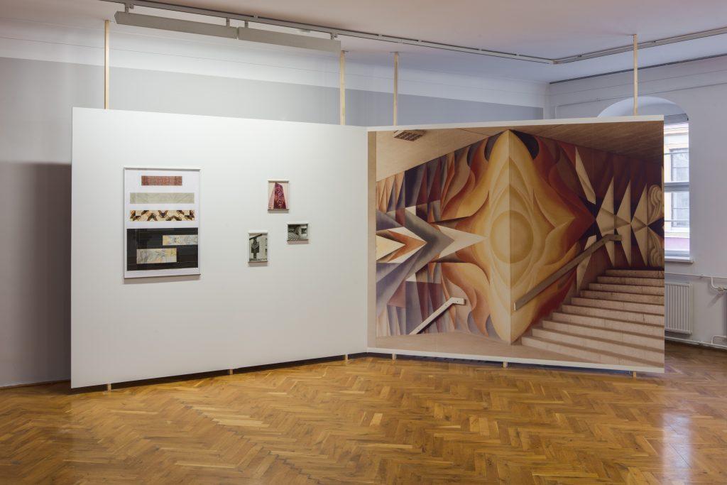 Karl-Heinz Adler / Friedrich Kracht, Wandtapete und verschiedene Entwurfszeichnungen © Galerie Eigen + Art, Foto: David Brandt